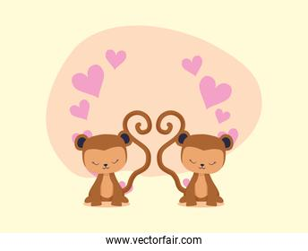 Hearts and monkeys cartoons couple vector design