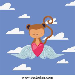 Monkey cartoon and heart with wings vector design