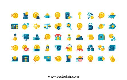Isolated cryptocurrency icon set vector design