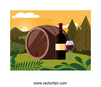 bottle and glass of wine with barrel on background landscape