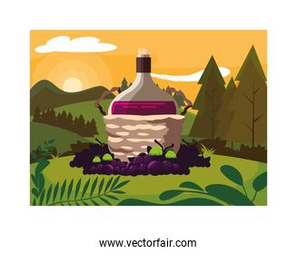 bottle of wine in wicker basket and grapes