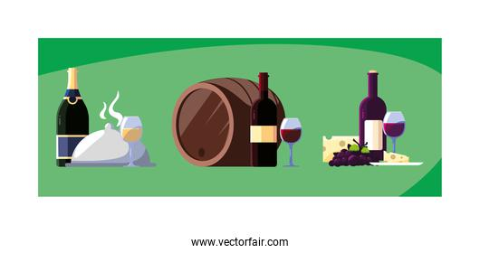 set of icons national wine day