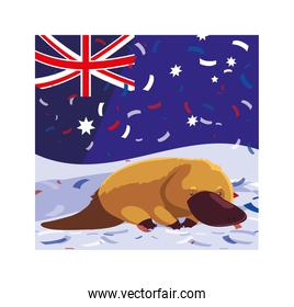 platypus with australia flag in the background