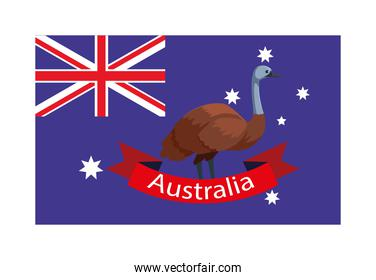 national flag of australia with native animal