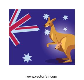 kangaroo with australia flag in the background