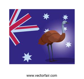 emu with australia flag in the background