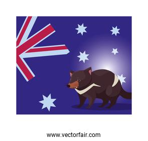 tasmanian devil with australia flag in the background