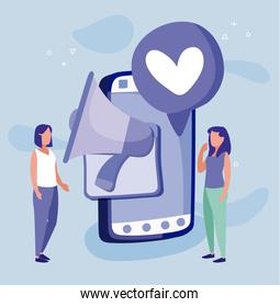 Smartphone women and megaphone of social media concept vector design