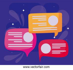 Bubbles of social media concept vector design