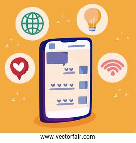 Smartphone heart bubble global sphere light bulb and wifi of social media concept vector design