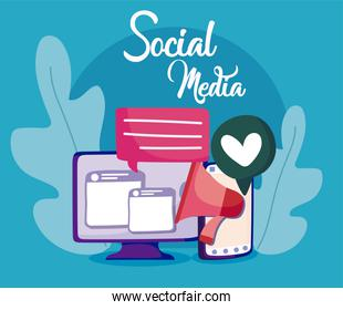 Computer and smartphone of social media concept vector design