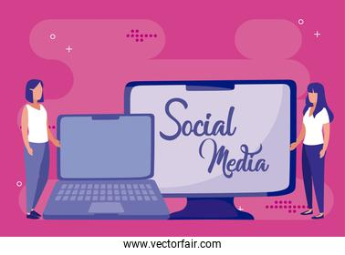 Laptop computer and women of social media concept vector design