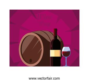 bottle and glass of wine with barrel