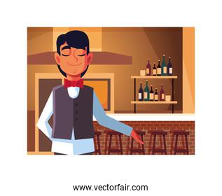 man professional waiter offering red wine in the bar