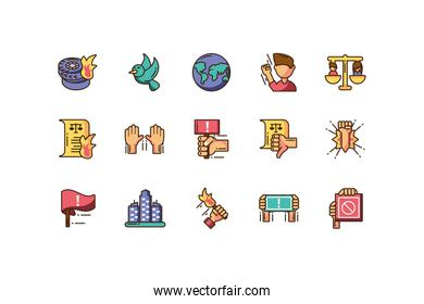 protest icon set over white background, colorful fill style, vector illustration
