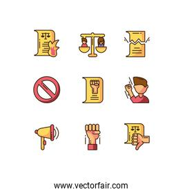 papers and protest concept of icons set, colorful fill style