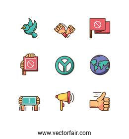 cartoon icon set of protest concept, colorful fill style