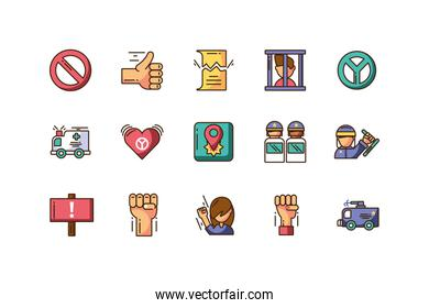 icon set of protest concept, colorful fill style