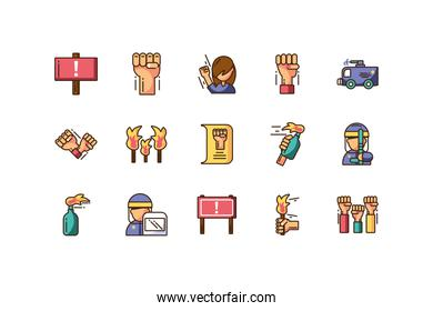 protest concept of icons set, colorful fill style