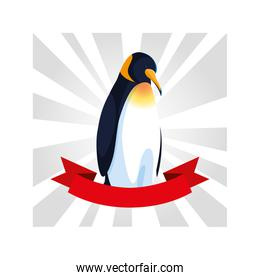 penguin greeting card with ribbon