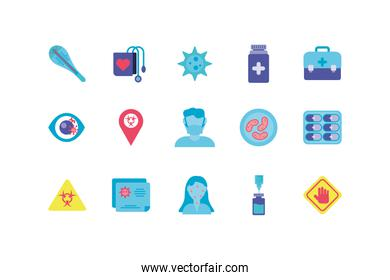 medical and sickness concept of icon set, flat style