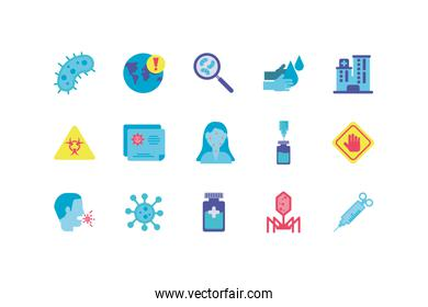 medical and sickness concept of icon set, colorful and flat style
