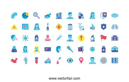 sickness and virus concept of icon set over white background, colorful design and flat style