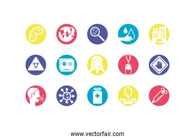 medical and sickness concept of icon set, colorful and block style