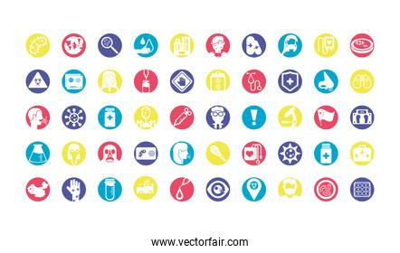 sickness and virus concept of icon set over white background, colorful design and block style