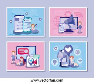 Boys and girls cartoons with smartphones and computers vector design