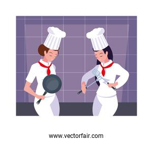beautiful women cooking, chef in white uniform