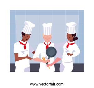 group of people cooking, set of chef with white uniform
