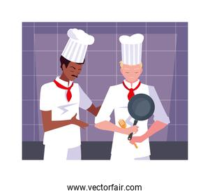 men cooking, chef in white uniform
