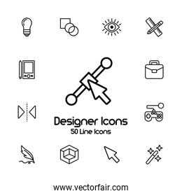 bundle of designer set icons and lettering