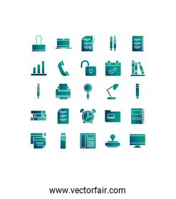 set of icons office , gradient style icon