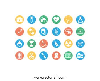 set of icons instruments medical, block and flat style icon