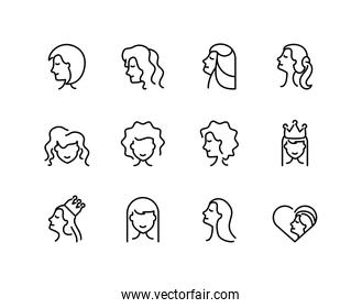icon set of women and female concept, line style icon