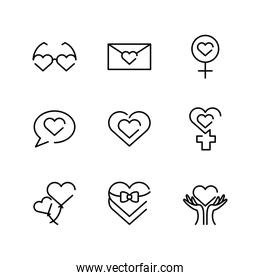 womens day and female icon set, line style icon
