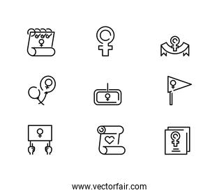 womens day and feminist icon set, line style icon