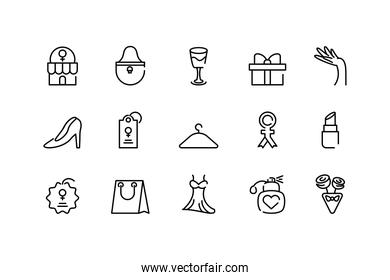 womens day concept of icons set, line style icon