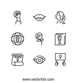 womens and female gender icons set, line style icon