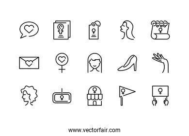 womens day concept of icons set, line style