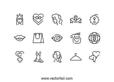 female and womens day concept of icons set, line style
