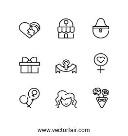 womens day and female concept of icon set, line style icon