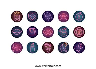 female and womens day concept of icons set, neon style