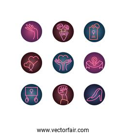 womens day and feminist icon set, neon style icon