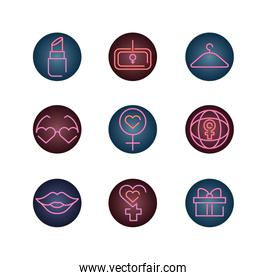 womens day concept of icons set, neon style icon