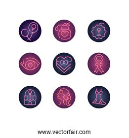 womens day and female icon set, neon style icon