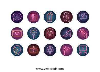 womens day concept of icons set, neon style