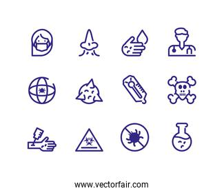 bacterias and sickness concept of icons set, thick line style